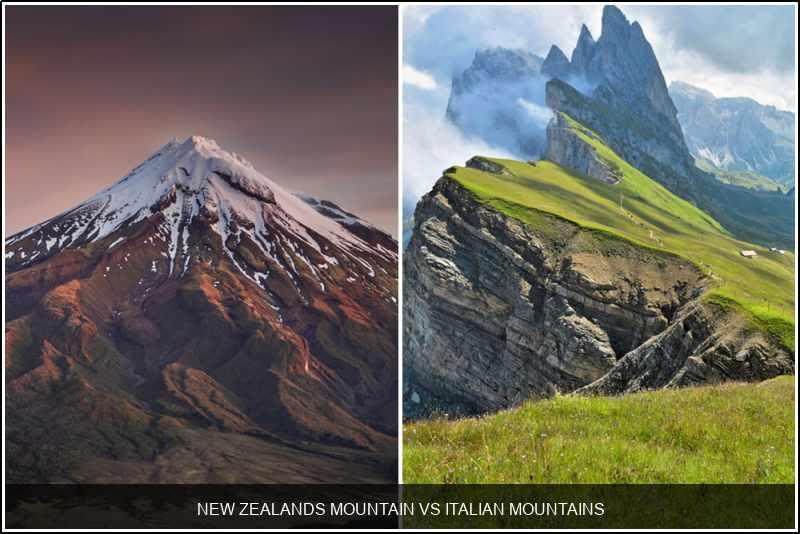 New Zealand's mountain vs. Italian mountains