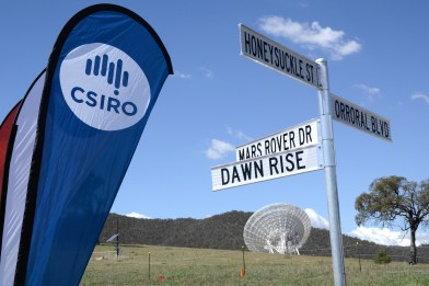 The new street signs show the way to Honeysuckle St, Mars Rover Dr, Dawn Rise and Orroral Blvd.