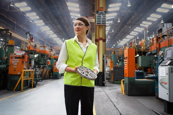 CSIRO staff member at Nissan's plant in Melbourne