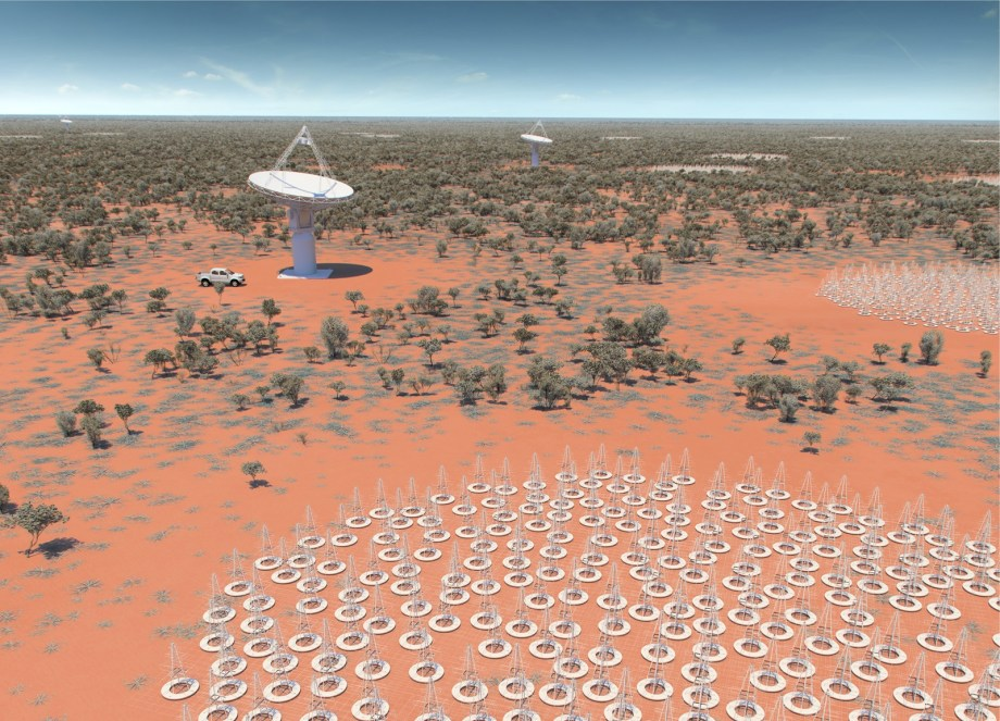 An image of lots of antennas surrounding a bigger dish in the Australian outback