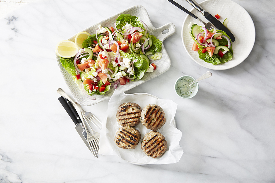 You can enjoy these lamb patties with tzatziki and Greek salad on the Flexi Diet program.