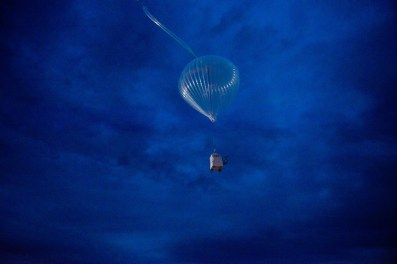 PILOT payload attached to a balloon, floating into the sky