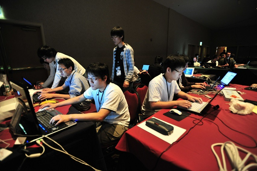 A team competing in the CTF contest Cyber Threat Defense