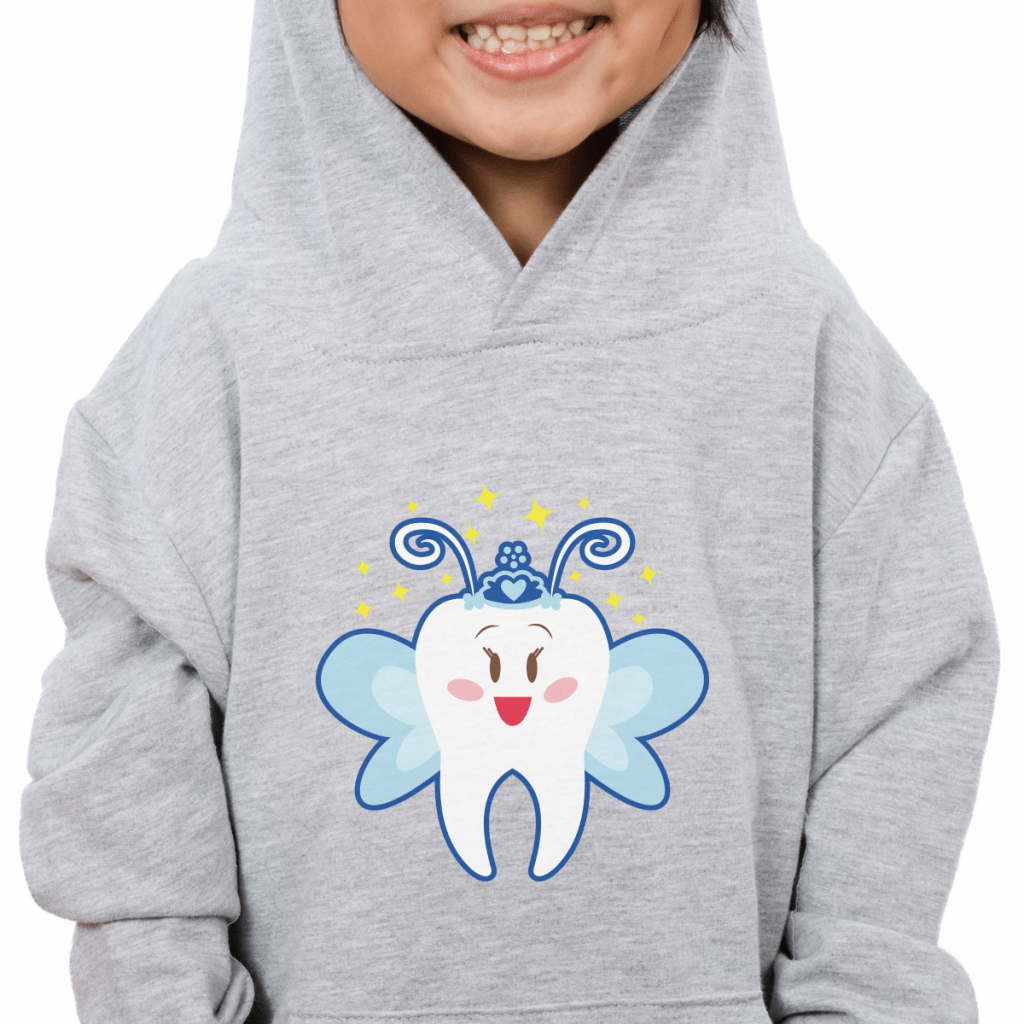 kid wearing hoodie with tooth fairy design