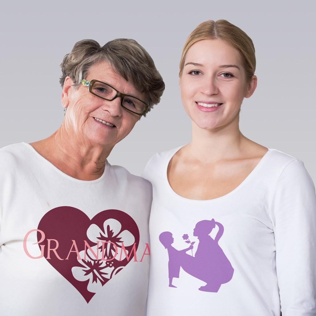 Female multi generation portrait with grandparents t-shirt designs