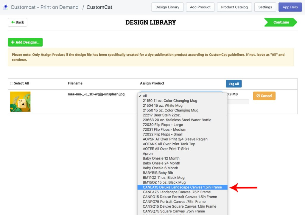 Design Library Assigned Product Tutorial