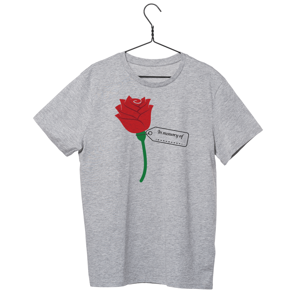 grey tee on a hanger, isolated, with poppy seed flower for Memorial Day
