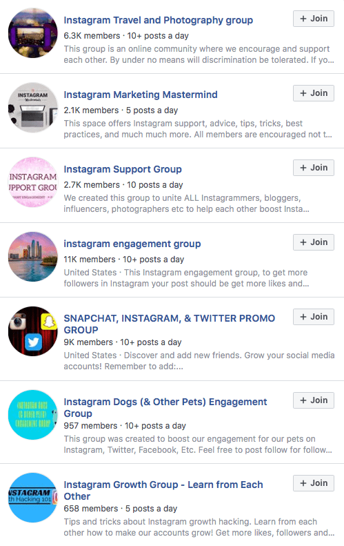 Example of Instagram's Groups on Facebook