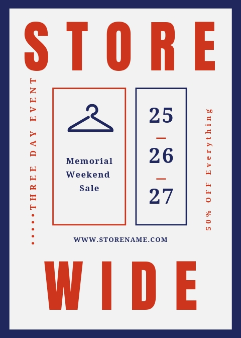 Storewide discount email for Memorial Day