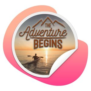 The Adventure Begins sticker on splash background