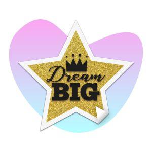 Dream Big Star Sticker on splashy background