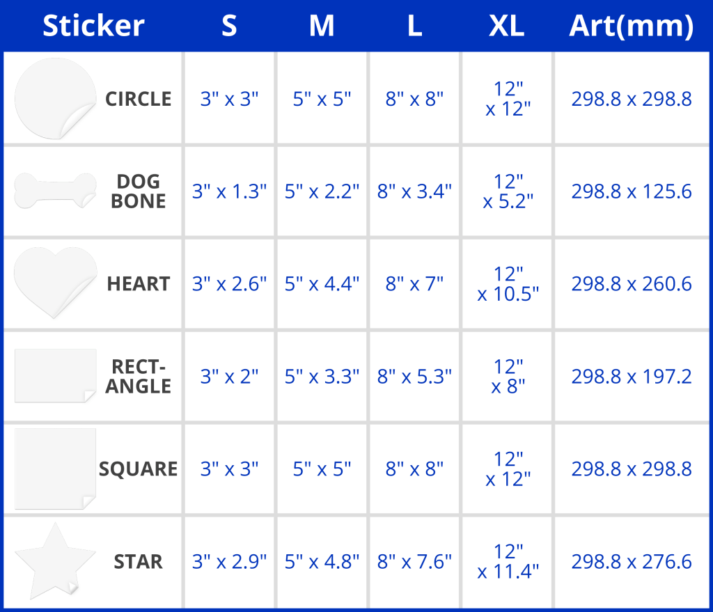 Stickers sizing