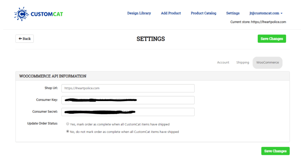 CustomCat Settings Screenshot