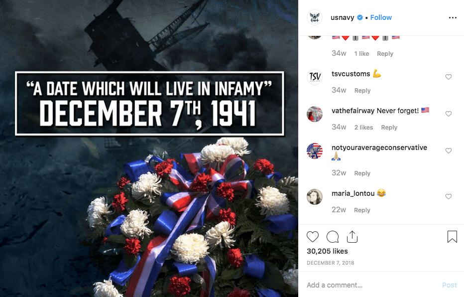 a date which will live in infamy Decmeber 7th us navy instagram post