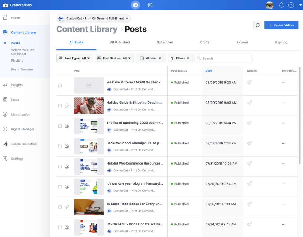 Screenshot of Facebook Creator Studio
