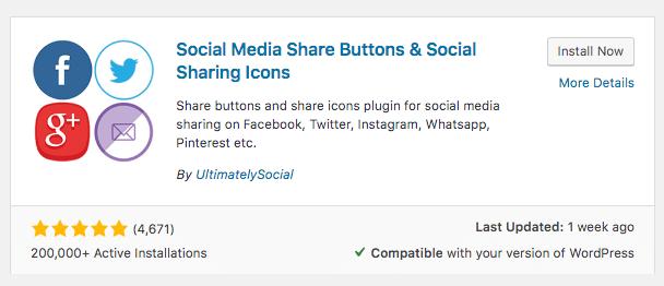 Example of social media plugin for WordPress