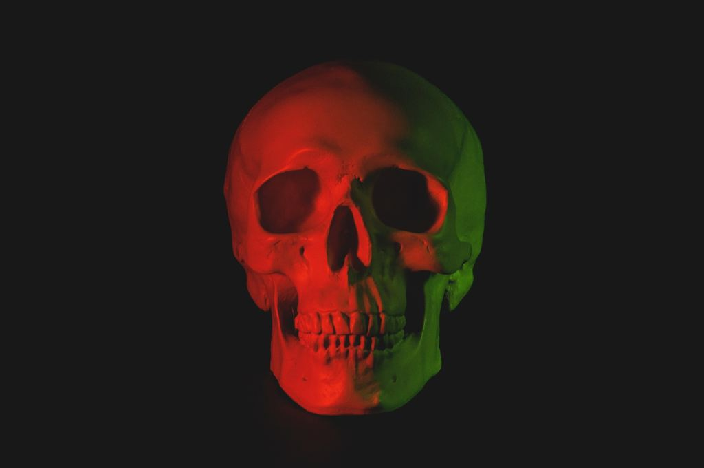 skull head with red lights