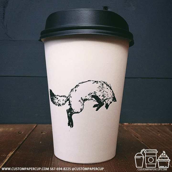 fox jump black white custom coffee cup