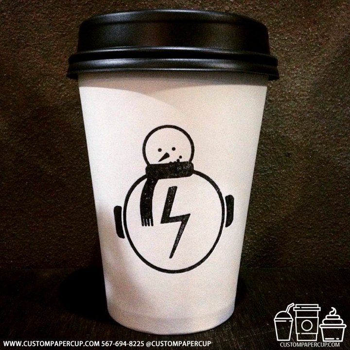 snowman electric electricity custom printed coffee cup