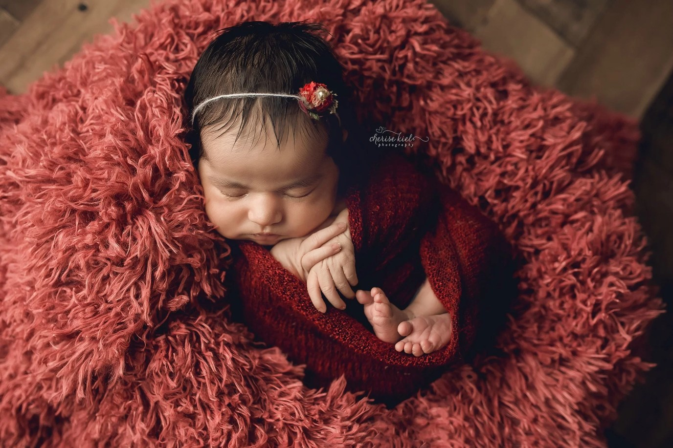 Cabernet auburn newborn photography baby girl swaddle fur headband studio set