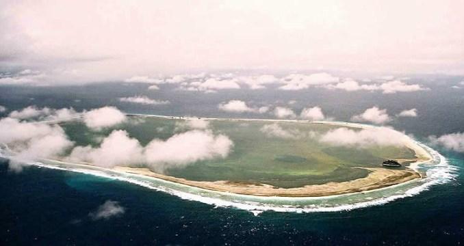 Vue aérienne de l'atoll corallien de Clipperton