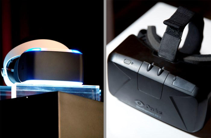 Project Morpheus on left, Oculus Rift on right. From wired.com