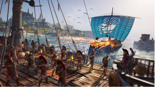 Assassin's Creed - Odyssey, Naval Combat As Played In A Gaming Laptop.