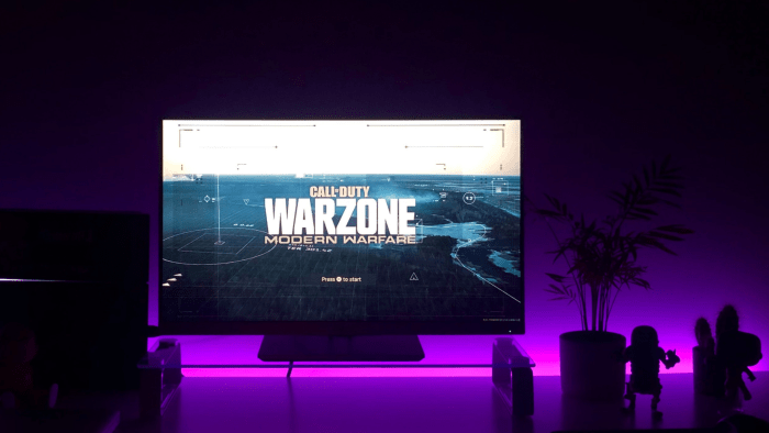 Gaming PC Set up with Call of Duty Warzone on the screen
