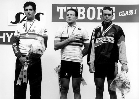 The line up of the 1993 world road race podium.