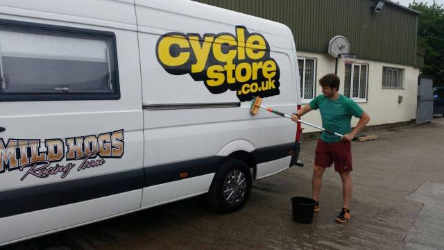 Catching up on chores - cleaning the Cyclestore van.