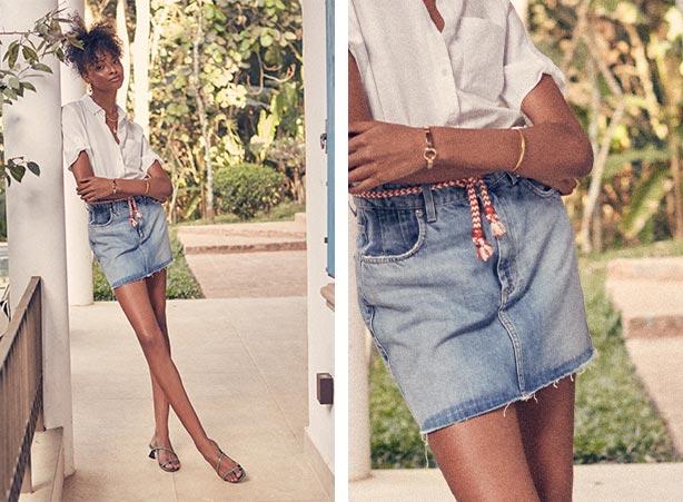 Saia mini jeans com camisa