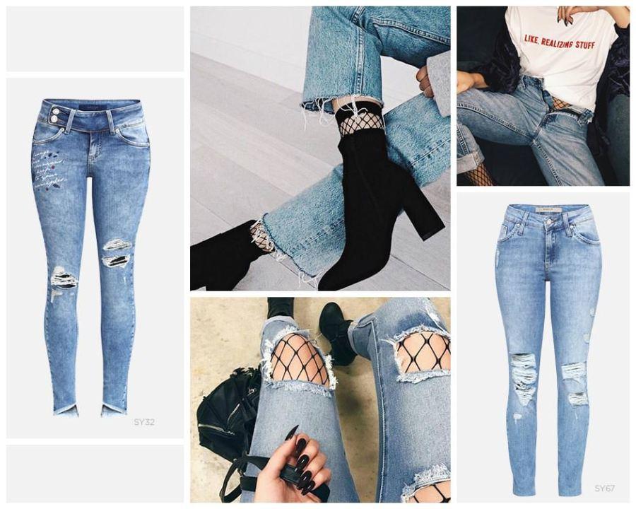 Jeans destroyed e meia arrastão