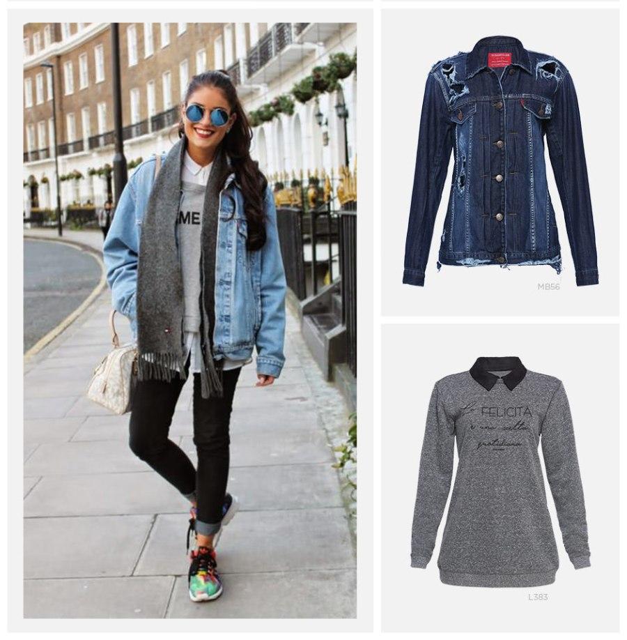 looks com sobreposição - jaqueta jeans com moletom