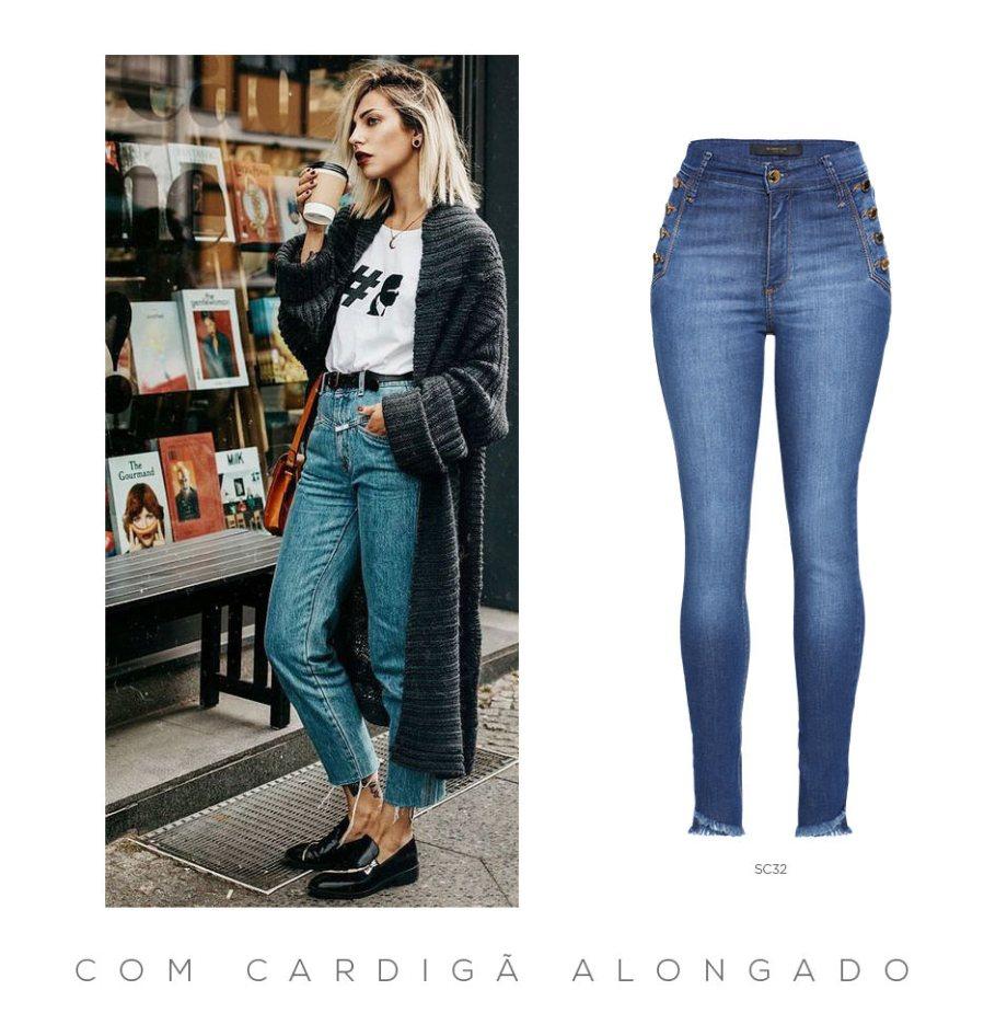 Calça cropped jeans e cardigã alongado