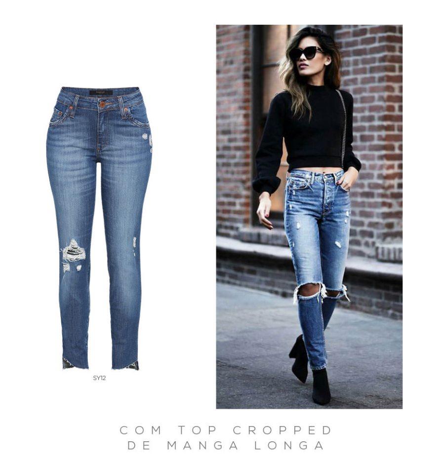 Calça jeans e top cropped