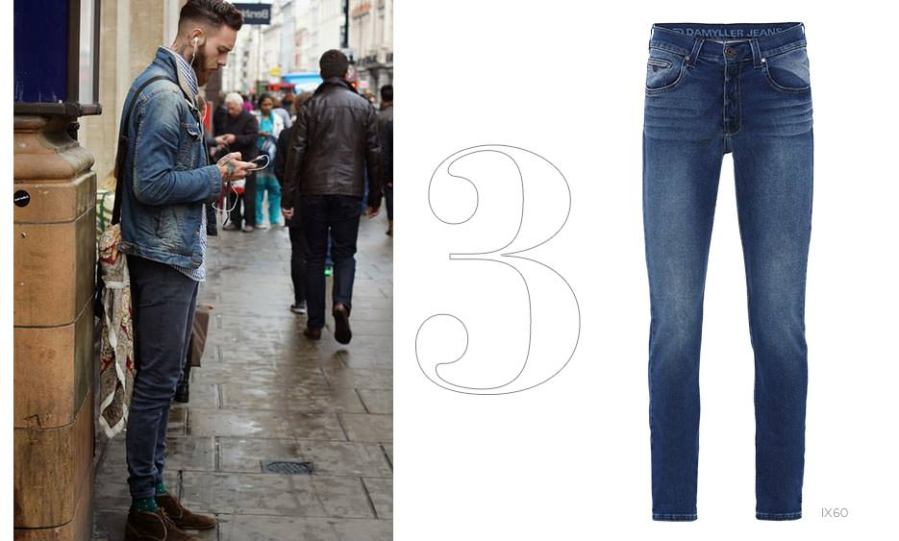 look all jeans masculino com calça e jaqueta