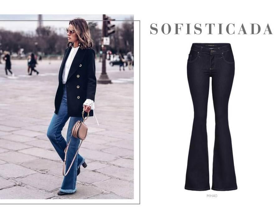 Calça jeans flare com blazer