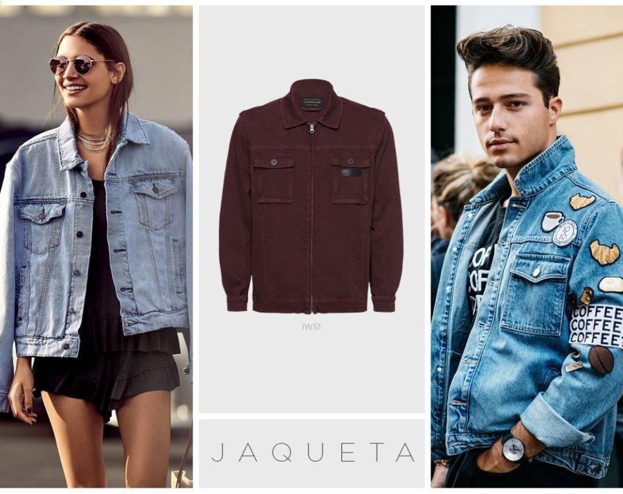 Jaqueta jeans nas roupas do namorado
