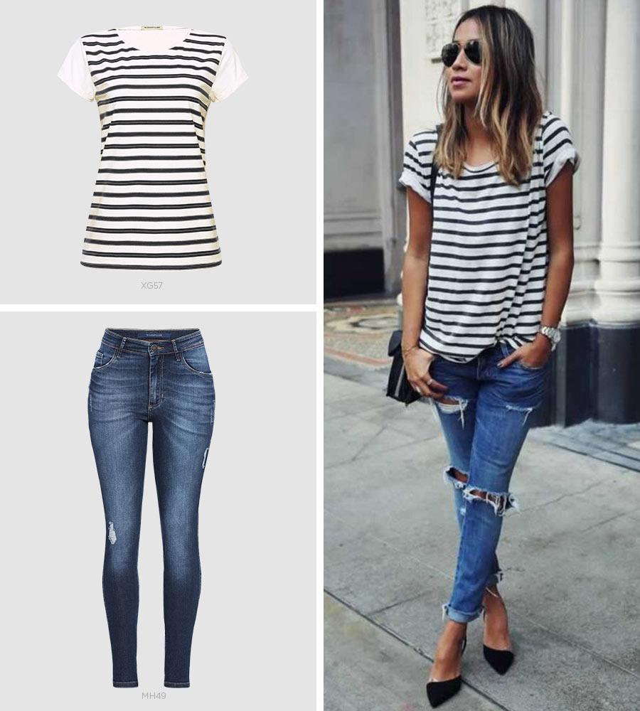t-shirt listrada e jeans