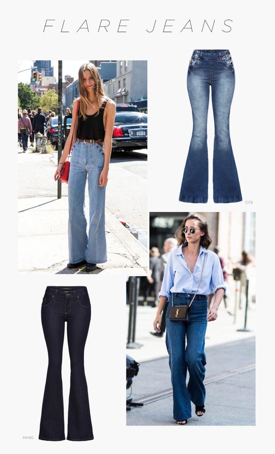 calça flare jeans estilo anos 70