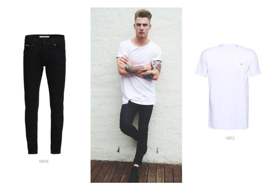camiseta basica branca e jeans preto masculino