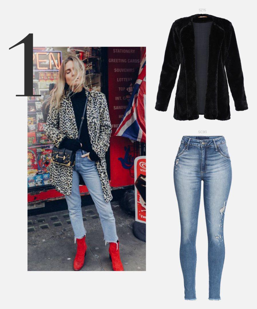 calça jeans e casaco de pelo sintetico