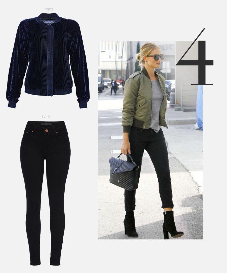 calça jeans, bota e jaqueta bomber feminina