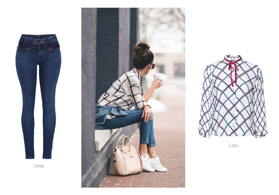 jeans skinny e camisa xadrez