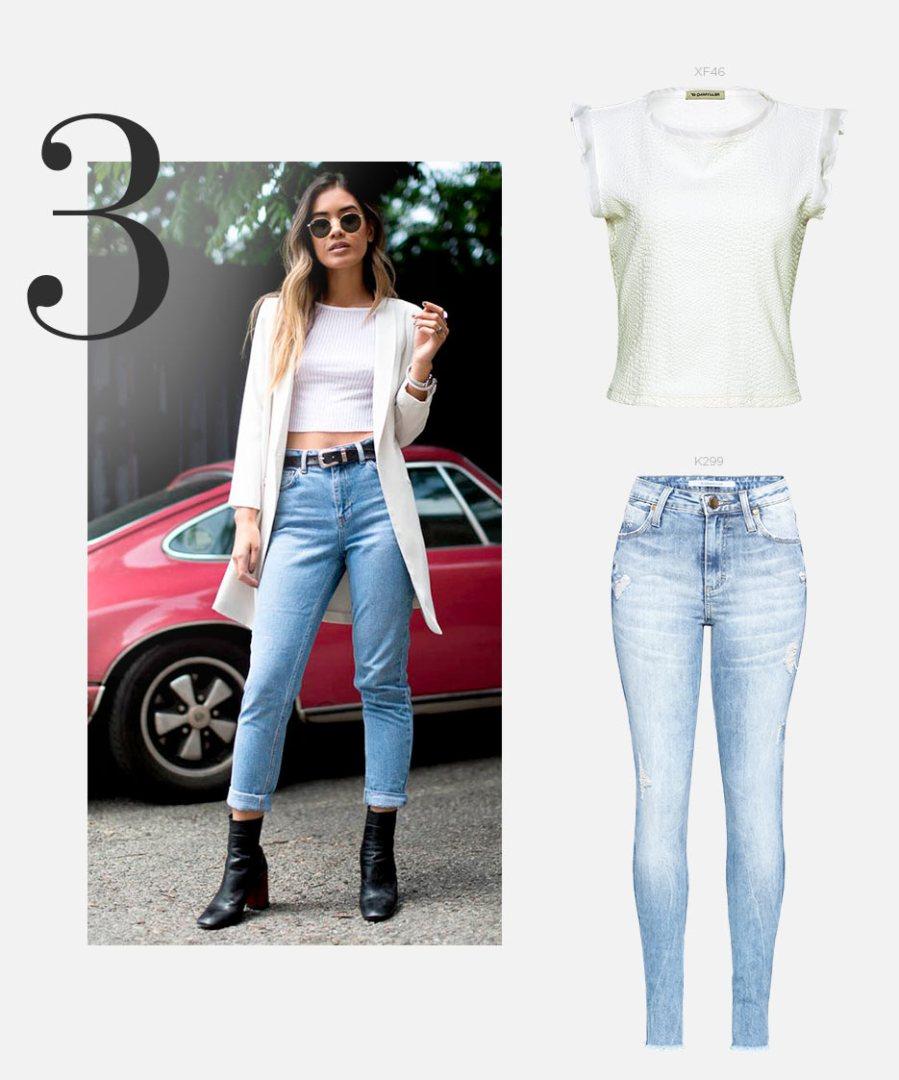 Top cropped com calça jeans e bota