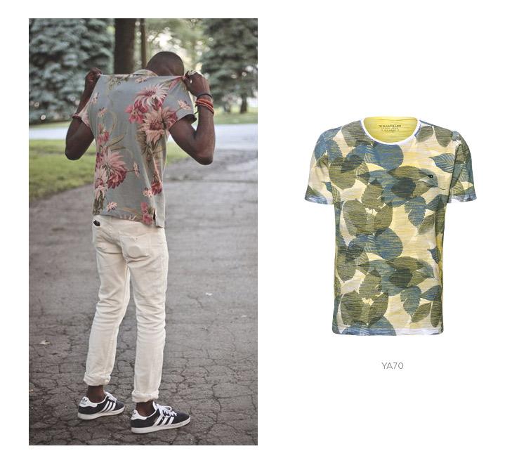 camiseta floral com jeans claro