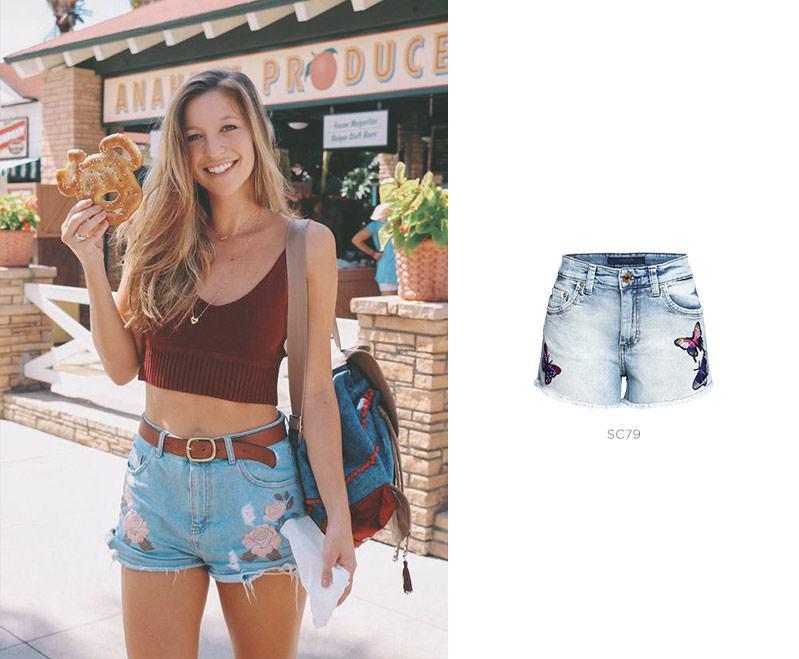short jeans bordado