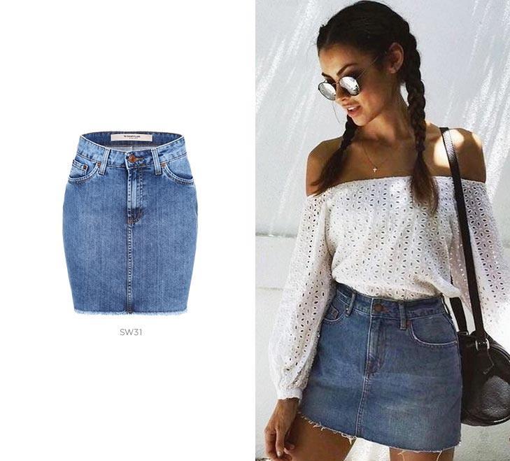 Mala carnaval com saia jeans