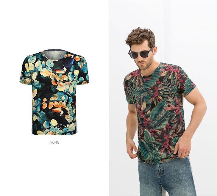 camisetas masculinas print tropical