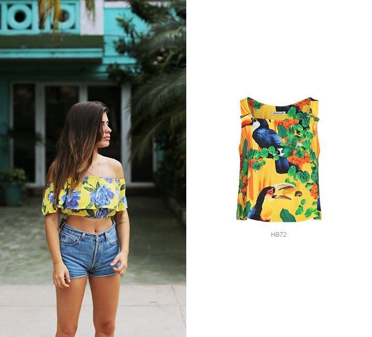 top tropical para looks de carnaval